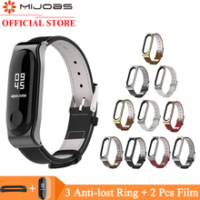 Mijobs Mi band 4 Wrist Strap Genuine Leather Bracelet For Xiaomi Band 3 Screwless Wristbands Smart Replace Miband