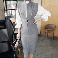 Foamlina Elegant Women Bodycon Dress Vestidos Deep V-neck Sleeveless Back Slit Office Ladies Work Party Dress Midi Vintage Dress