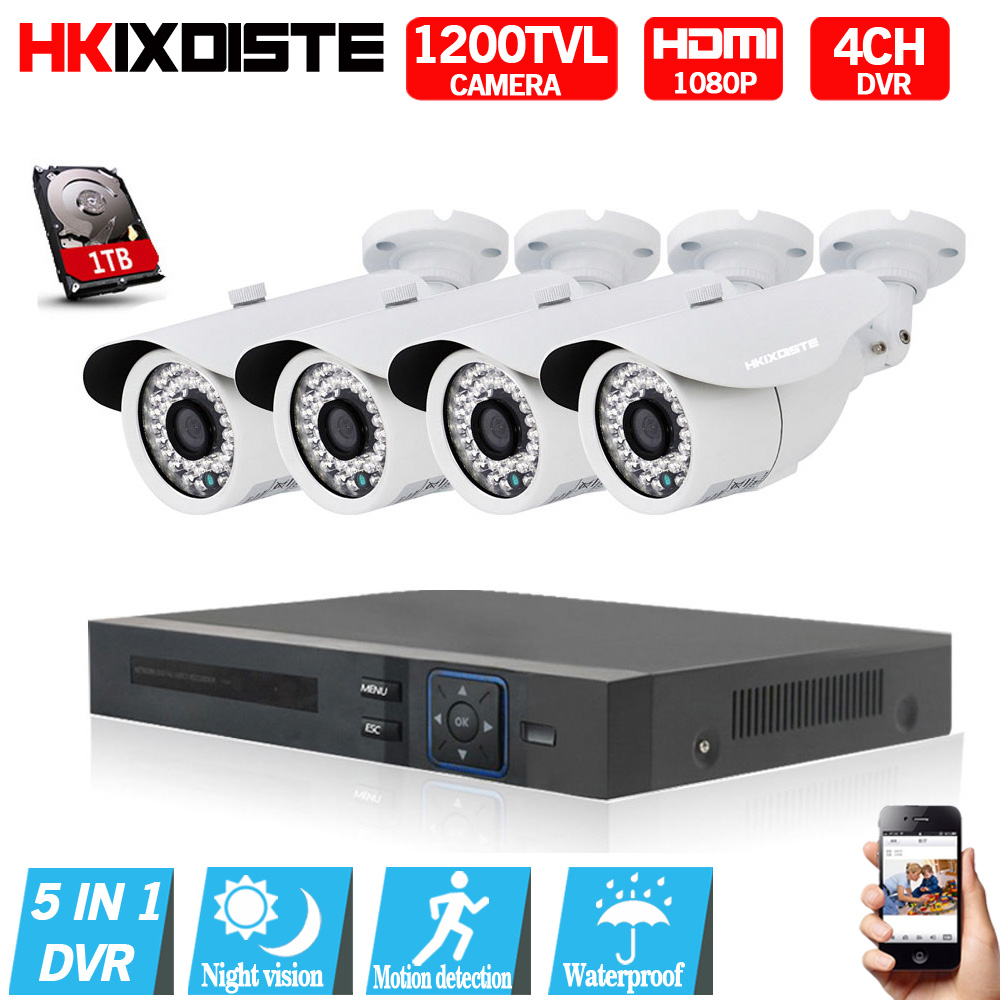 4CH CCTV System 1200TVL CCTV Camera Home Security Video Surveillance Kit 1080P 1080N AHD DVR HD 720P Outdoor Indoor Camera4CH CCTV System 1200TVL CCTV Camera Home Security Video Surveillance Kit 1080P 1080N AHD DVR HD 720P Outdoor Indoor Camera