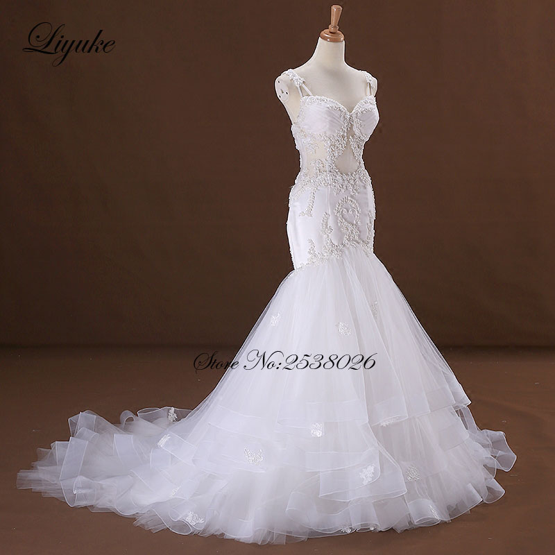 Image 2 - Liyuke J170 Elegant Tulle Mermaid Wedding Dress Sweetheart Appliques Beading Spaghetti Straps Bride Dress robe de marriage-in Wedding Dresses from Weddings & Events