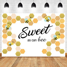 NeoBack Sweet As The Bee Backdrop for Photography Newborn Baby Shower Photo Background Birthday Party Decoration Banner Fabric(China)