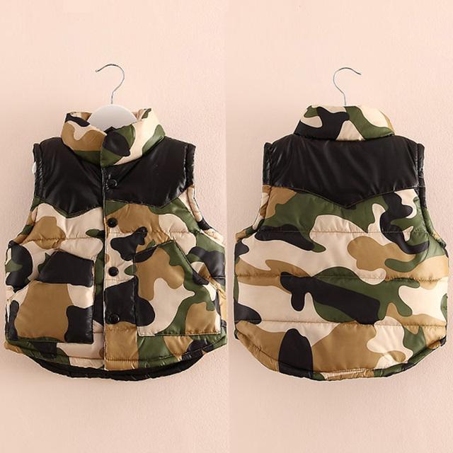 2015 camuflagem de inverno roupas meninas roupas meninos além de veludo espessamento de algodão acolchoado colete outerwear wt-3298