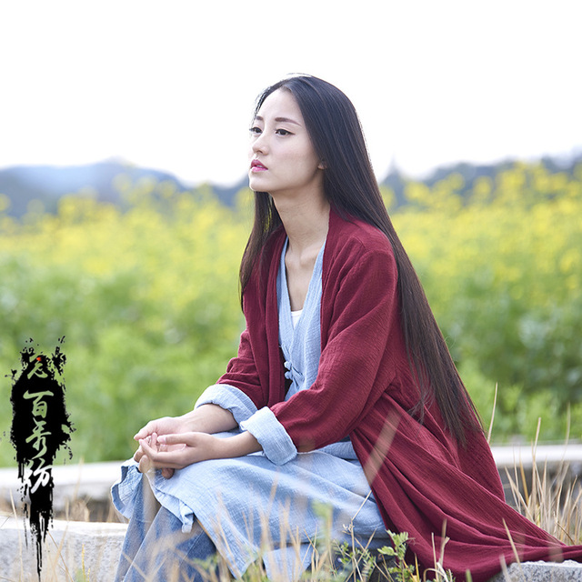 Spring Summer Chinese Style Long Sleeves Cotton And Linen Solid Color Womn Long Jackets 2