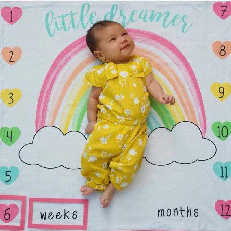 100x100cm Baby Milestone Blanket Photography Prop Rainbow Monthly Backdrop Cloth Calendar Infant Bebe Boy Girl Photo Accessories