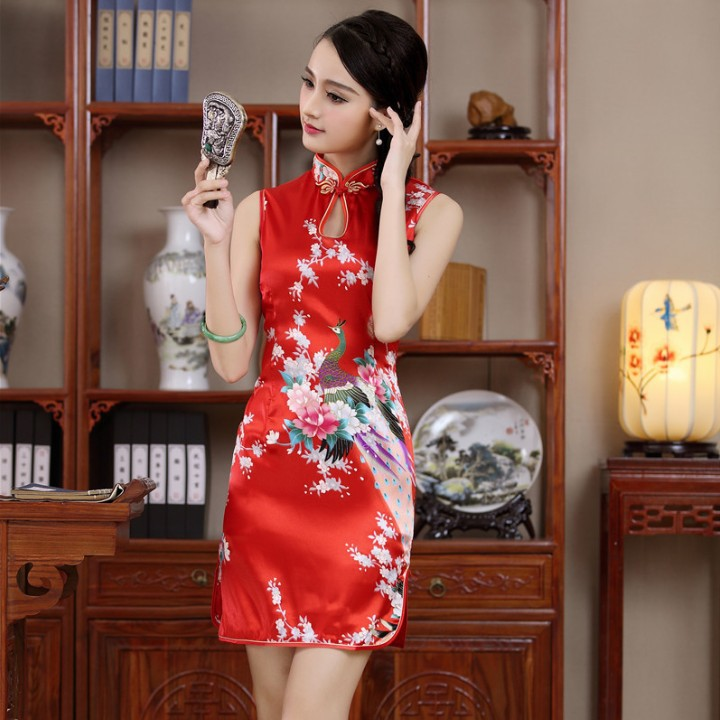 3589013484 2017446649. 3588761206 2017446649. IMG 9999 719. Blue Chinese  Lady Evening Party Dress Short Sleeve Cheongsam Qipao ... 888a5187e5c4