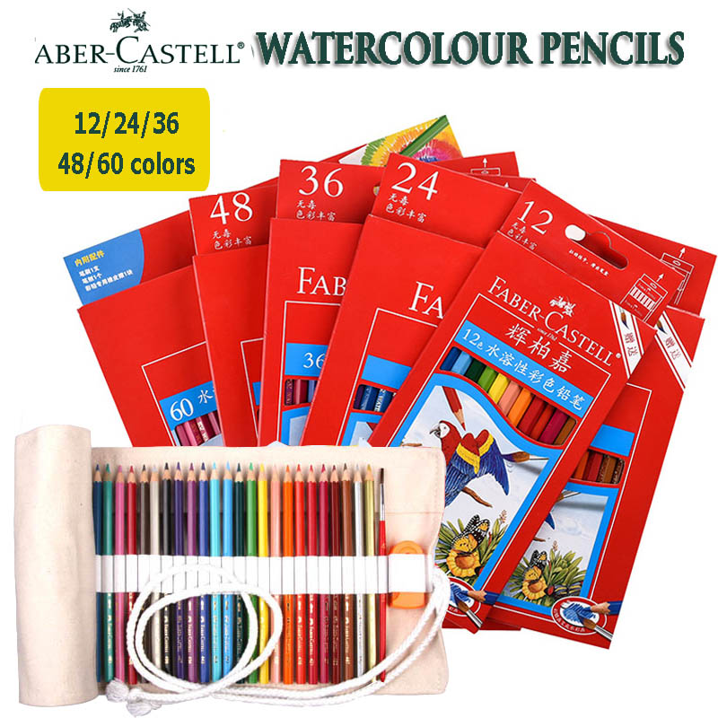water color aquarelle pencil faber castell professional drawing 36 48 60 set colored pencils with bag and brush painting pens faber orizzonte eg8 x a 60 active
