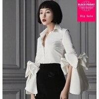 Japanese Bow White blouse For Women 2018 Summer Female Fashion OL Clothing Flare Sleeve plus Size Slim shirt Blouse Tops L355