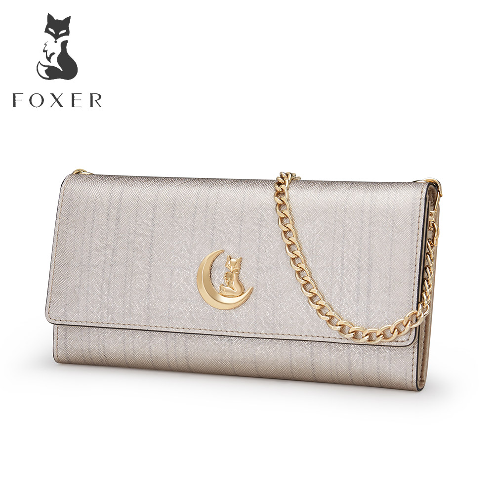 FOXER Brand Women's Leather Chain Shoulder Bags Fashion Crossbody Bag For Female Messenger Bags Women Clutch 2017 fashion all match retro split leather women bag top grade small shoulder bags multilayer mini chain women messenger bags