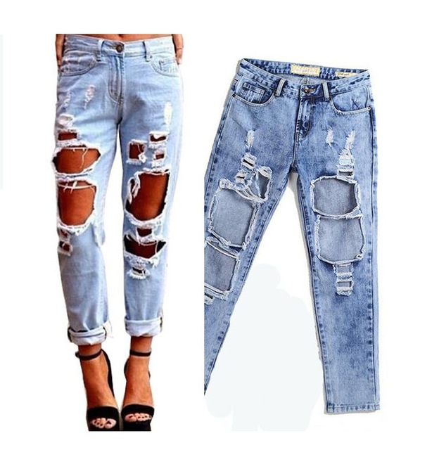 2e4b2c252ef1 QA870 Lose plus größe wilde übertrieben loch zerrissene jeans boyfriend  frauen licht jeans weiblichen