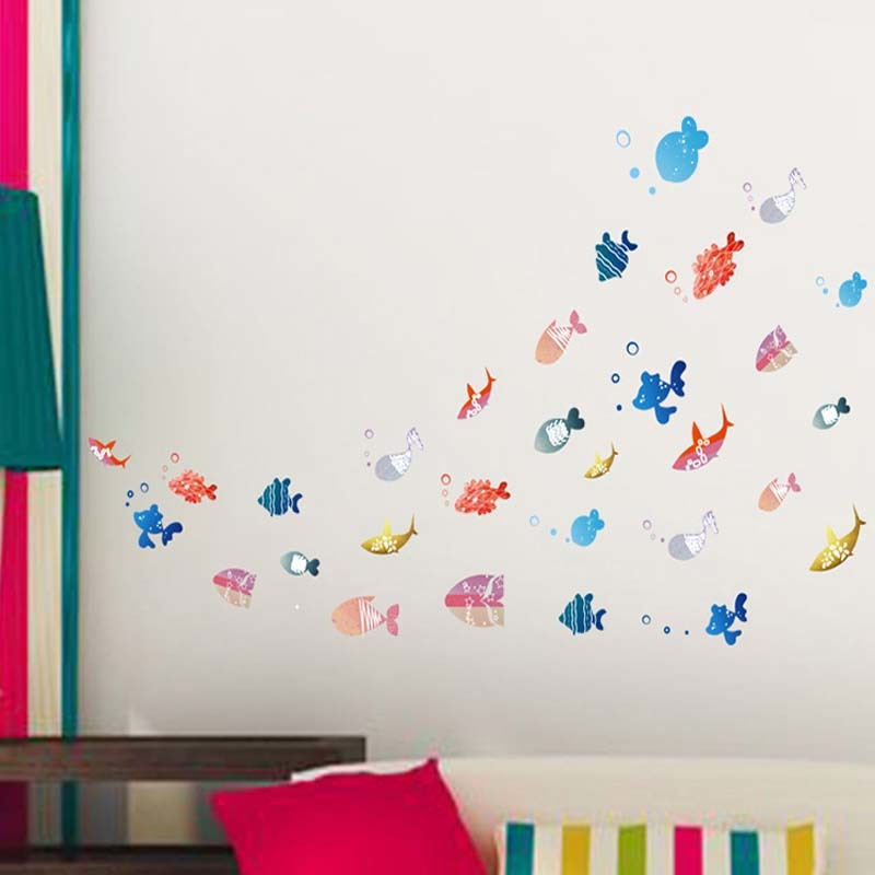 DIY Home Decoration Mirror cartoon Wall Stickers Lovely happy Fish Modern Room Decal Art for home chidren room bathroom decco
