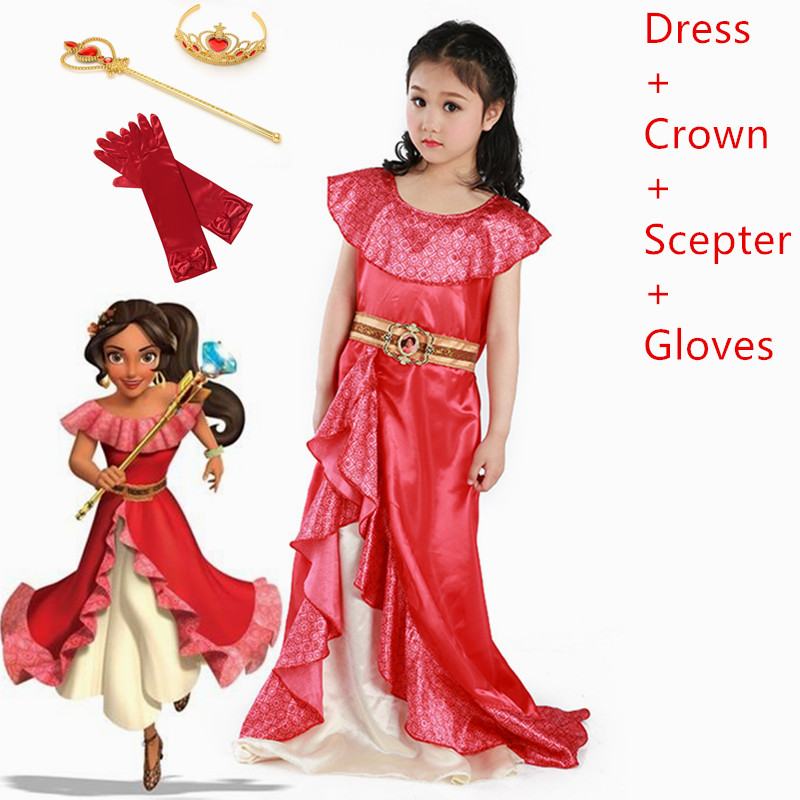 Meninas fantasia elena de avalor cosplay traje vestido fora do ombro arco faixa multi camadas princesa elena vestidos roupas
