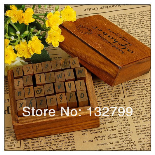28Pcs Set Letter Rubber Stamp Wooden Box Alphabet Number Stamps Vintage Handwriting Craft