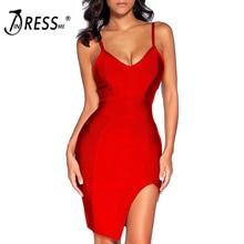 INDRESSME 2017 Sexy Spaghetti Strap Sleeveless Split Bandage Dress Mini Bodycon Club Party Dress Summer