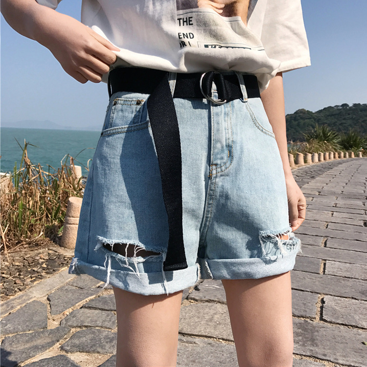 Nouveau été 2018 de mode femmes de haute taille court lavé trou avec des  ceintures lâche 226d96e177f
