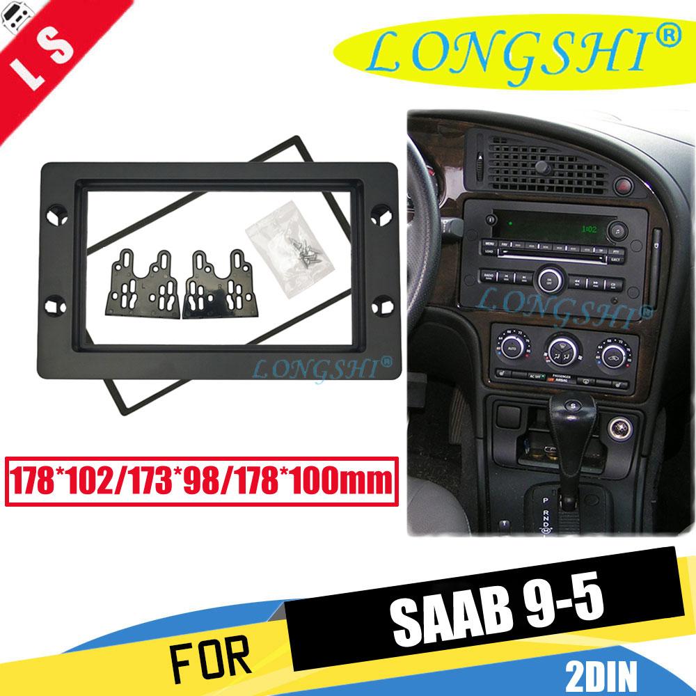 Double Din Frame Car Radio Fascia for 2005 2011 SAAB 95 9 5 Dashboard CD DVD GPS Fitting Adaptor Stereo Player Black 2din