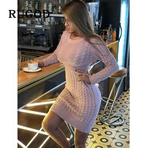 Image 3 - Rugod 2020 novo vestido de camisola magro moda sexy túnica de malha vestido feminino auturm inverno quente lápis vestidos femininos