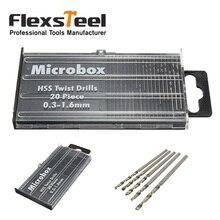 цена на Flexsteel 20pcs Mini Micro HSS Precision Twist Drill Bit Set 0.3mm-1.6mm Model Craft Grinding Wire Gauge Drill with Case Brocas