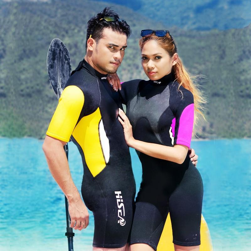 HISEA 3mm Short Sleeved Lovers Men Women Wetsuit Snorkeling Jumpsuit Full Body Dive Wet Suit One