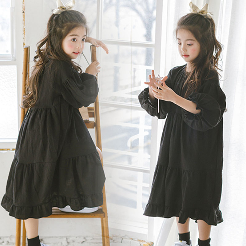 Black Girls Dress Children Loose Cotton Linen Kids Casual Dresses Teens Autumn Maxi Dress Teenage girl Christmas costume 4-16Yrs