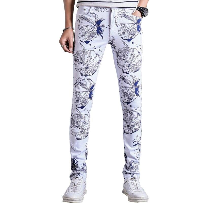 2018 Drop Verschiffen Männer Der Mode Weiß Lackiert 3d Gedruckt Jeans Slim Fit Stretch Denim Dünne Hosen 28-36 Axp127