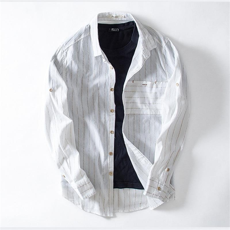 2018 New Fashion Striped Shirt Men Cotton Linen Causal Shirts High quality Male Slim Fit Men Shirt Long Sleeve Social Business