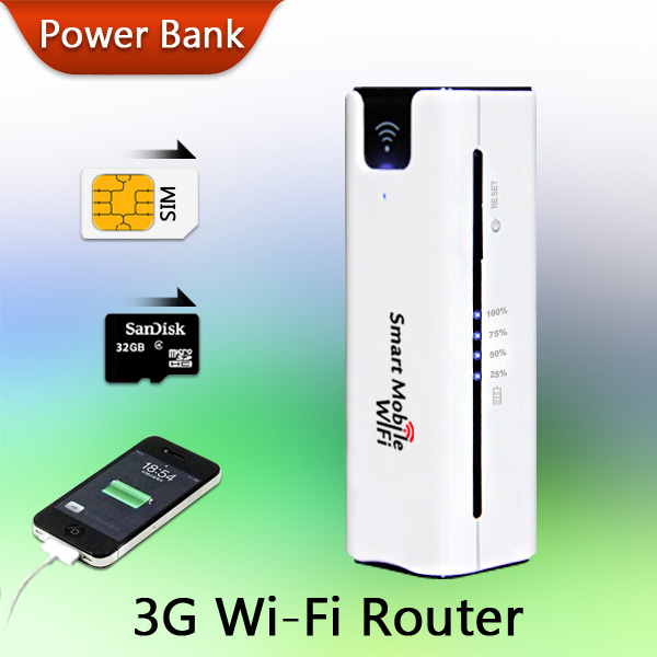 High Quality Outdoor Travel Home Long Working Time Multifunction Portable WiFi 3G Wireless Router Power Bank