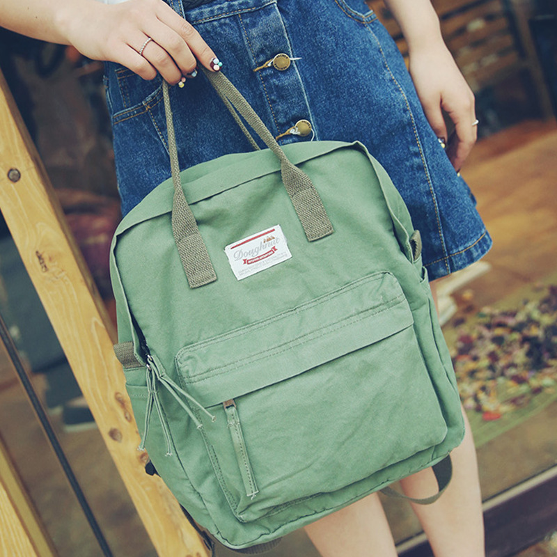 Summer new canvas shoulder bag Korean casual women bag big bag trend middle  school student backpack travel bag-in Backpacks from Luggage   Bags on ... 4f99769f005d5
