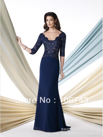 free shipping 2014 new fashion vestidos formal dress weddings bridal party gown lace Mother of the Bride Dresses with sleeve
