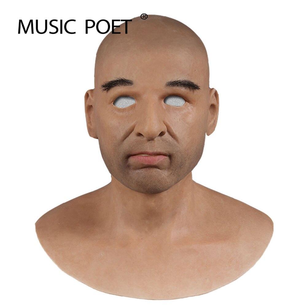 Musique poète mâle latex réaliste adulte silicone masque complet pour homme cosplay fête Halloween masque fétiche vraie peau