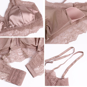 Image 4 - Women 100% Real Silk Bras 3/4 Cup Body shaping Wire Free  Adjusted straps Women Underwear France Style Sexy Lingerie 8015