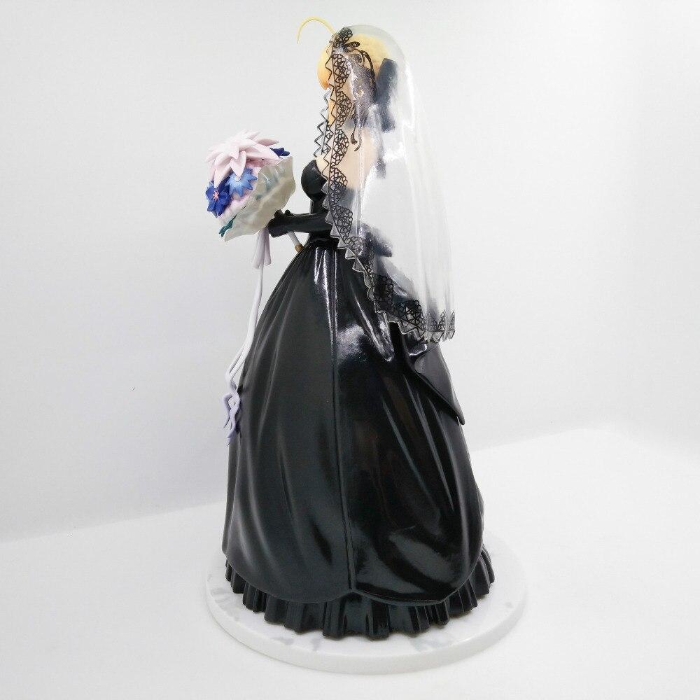 1 pièces 25 CM pvc japonais sexy anime figure destin/séjour nuit sabre noir mariage ver 10th anniversaire figurine d'action - 3