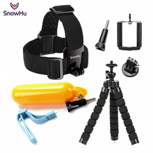 SnowHu Sport camera Accessories Kit Head Strap Monopod For Gopro Hero 7 6 5 4 3+ 2 1 for SJCAM SJ4000 Eken H9R GS63