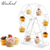Unibird Metal Rotating Cupcake Stand Ferris Wheel Shape 8pcs Muffin Cups Holder Wedding Party Birthday DIY Cake Decoration Tools