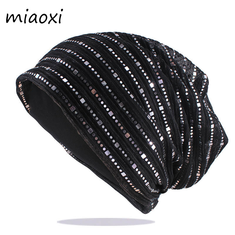 New Autumn Spring Thin Casual Women's Rhinestones Slouchy   Beanie   Wool Hat For Women Bonnet Female Skull   Beanies   Caps