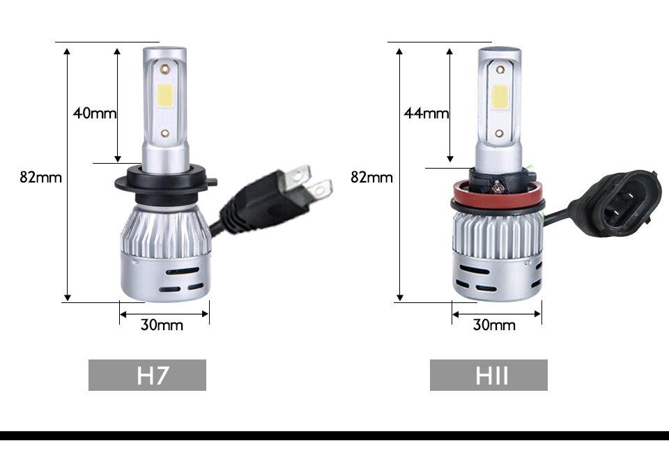 Aceersun H4 LED H7 H1 H11 H8 H9 9005 HB3 HB4 9006 Mini Car headlight 72W 8000LM COB 3000K 4300K 6500K 8000K Hi Lo Beam 12V 24V (16)
