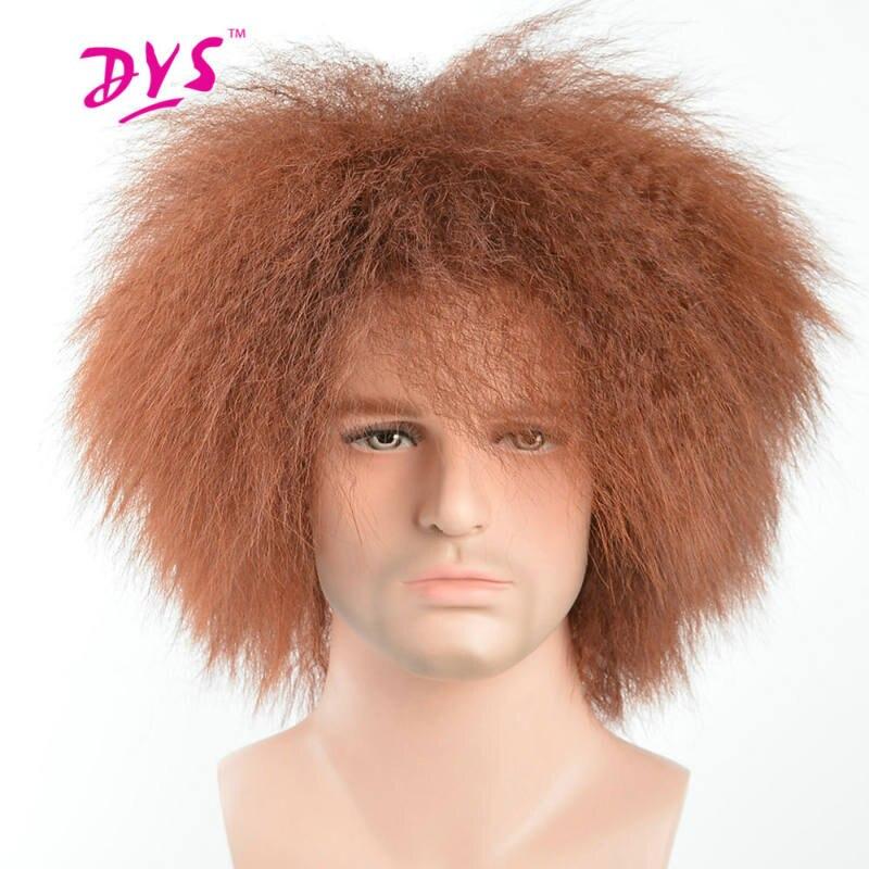 Deyngs короткие странный прямо из синтетических Для мужчин парики натуральный чёрный; коричневый Цвет термостойкие нет кружева прическа с Bang ...