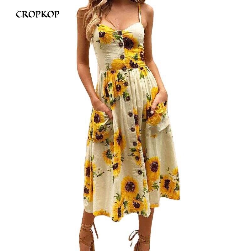 Sexy cuello en V vestido Floral verano playa vestido de verano vestido de las mujeres 2019 blanco Boho rayas botón girasol Daisy de fiesta de Midi vestidos