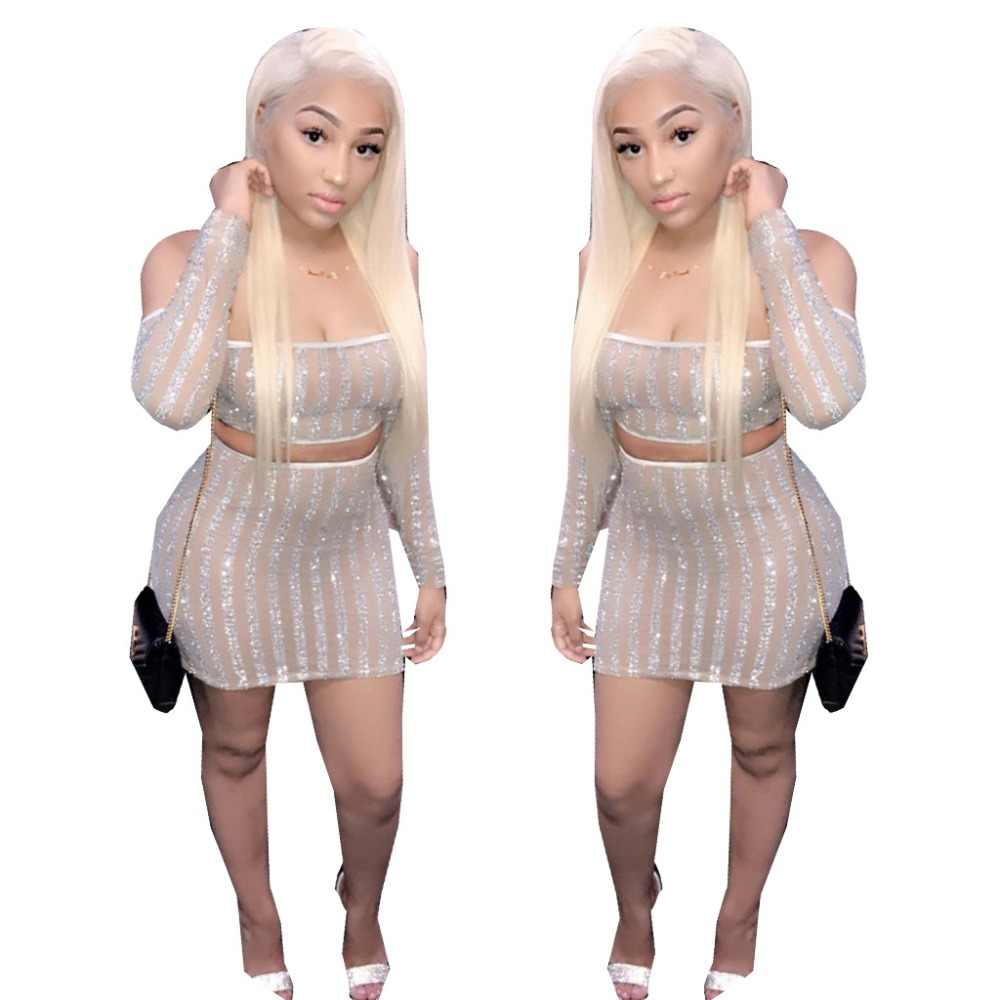 72eaeb94fa3 Plus Size Robe Moulante Sexy Off Shoulder Long Sleeve Crop Top And Mini  Bodycon Dress Women