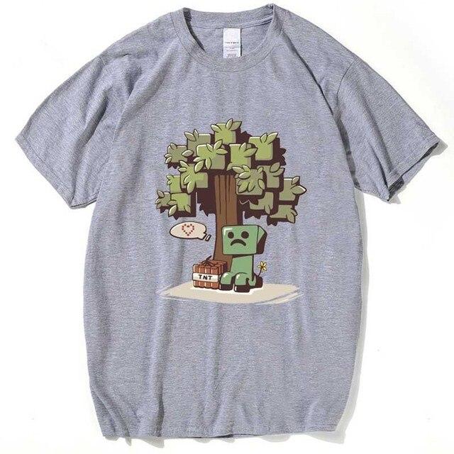 Игра Minecraft рубашка мужчины лето футболка белый/серый мужской с коротким рукавом футболки аниме top clothing camisa masculina плюс размер 3XL