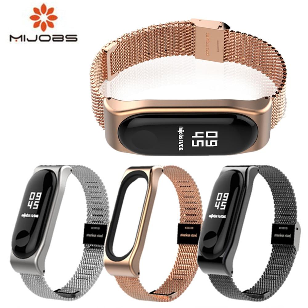 New Mijobs Mi Band 3 Strap Bracelet for xiaomi Mi Band 3 wrist strap Mi band3 Smart Band Strap MiBand 3 Wristband black Metal
