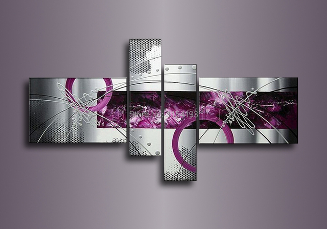 4 Piece Set Modern Abstract Grey Silver Lines Purple Oil Painting On ...