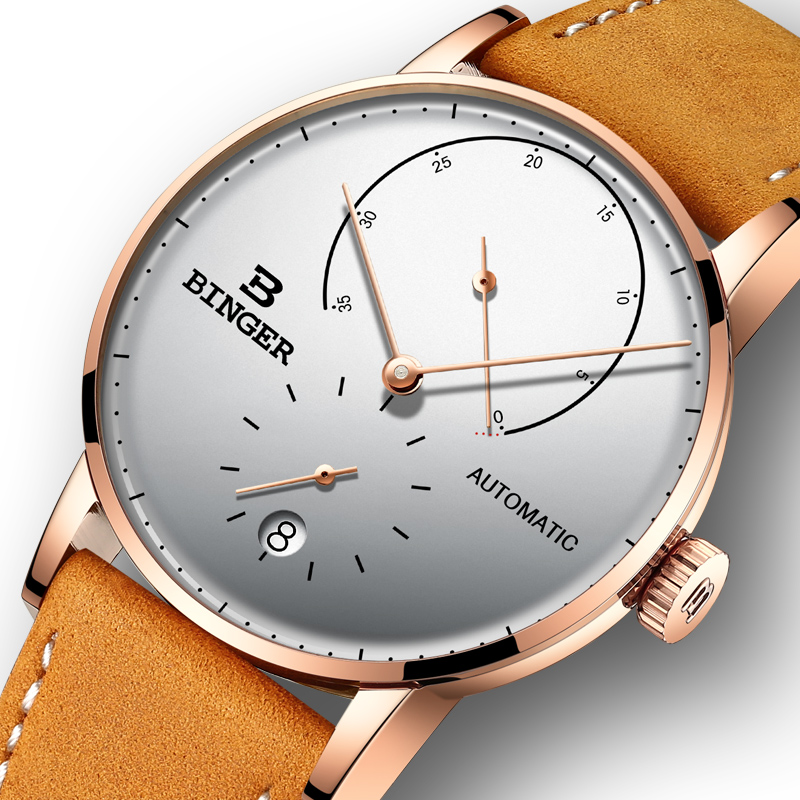 Switzerland BINGER Men Watch Luxury Brand Automatic Mechanical Mens Watches Sapphire Male Japan Movement reloj hombre B-1187-6 đồng hồ binger bg54