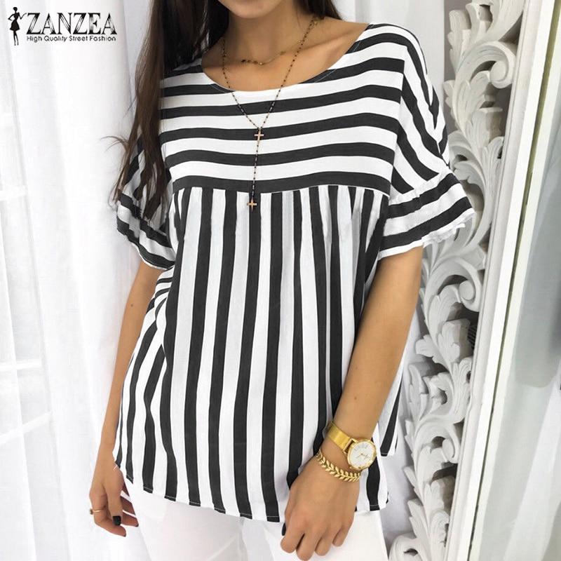 ZANZEA 2018 Plus Size Women Vintage Striped O Neck Short Sleeve Blouse Elegant Work Blusas Office Shirt Summer Casual Loose Tops