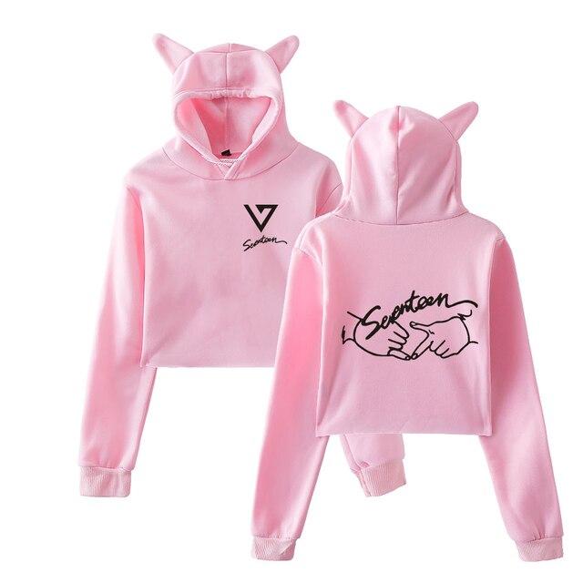 ab82d3549c9 Korea Seventeen17 Group Women s New Autumn Sexy Short Hoodies Cat Ears Cap  Exposed Navel Kawaii Sweatshirt