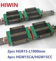 2 шт. 100% Оригинал Hiwin Линейные направляющей HGR15 L 1900 мм + 4 шт. HGW15CA HGW15CC Линейный Фланец каретка для ЧПУ