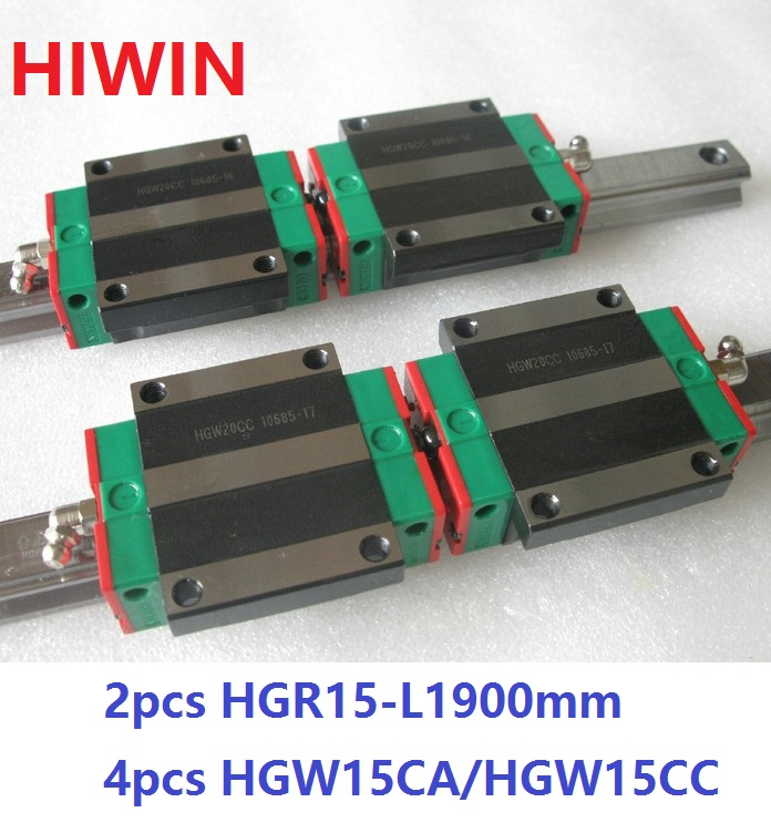2pcs 100% original Hiwin linear rail guide HGR15 -L 1900mm + 4pcs HGW15CA HGW15CC linear flange carriage block for cnc цена