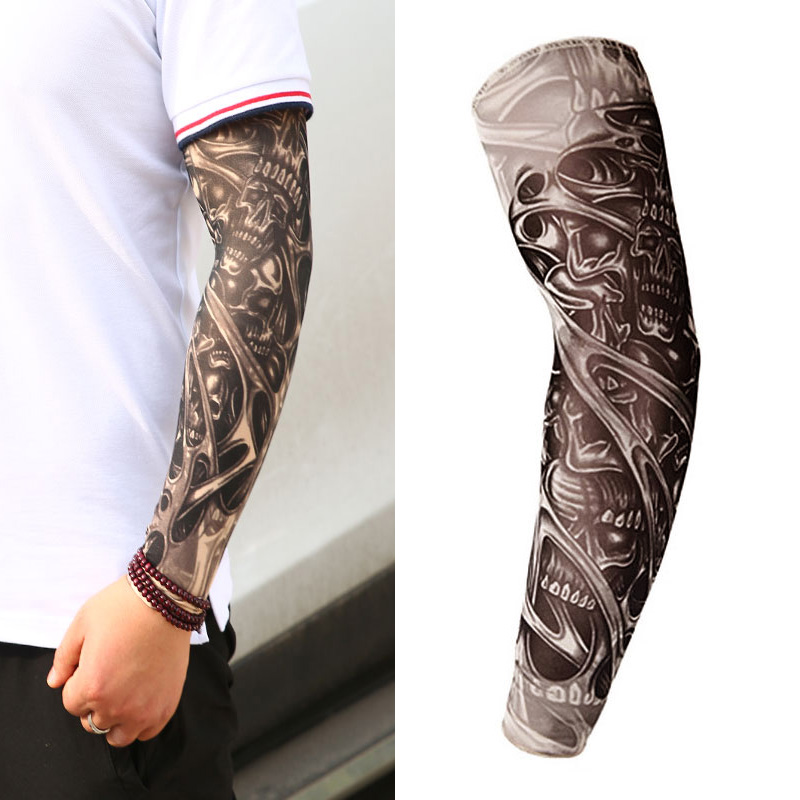 16 Styles Tattoo Sleeve Man Fake Temporary Tattoo Arm Sleeves Unisex Warmers Elastic UV Protection Cool Printed Sun-proof Punk