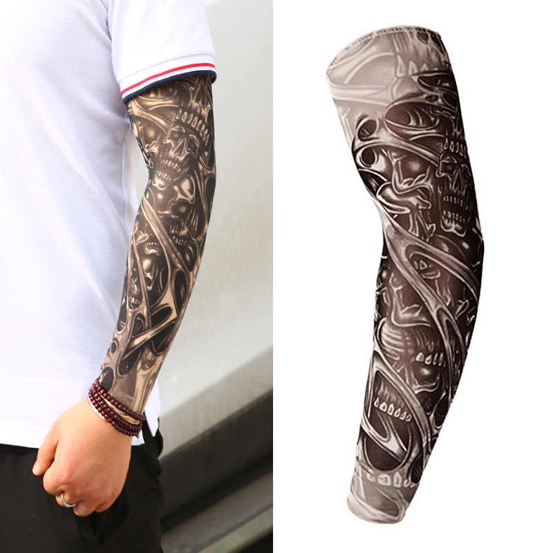 98c1f4459db4a 16 Styles Tattoo Sleeve Man Fake Temporary Tattoo Arm Sleeves Unisex Warmers  Elastic UV Protection Cool