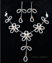 Gold Plated Flower Wedding Bridal Austrian Crystal Rhinestone Vintage Necklace Earrings Jewelry Sets