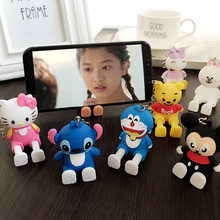 2019 Cartoon Mobile Phone Holder Silicone Stereo Telescopic Doll Car Keychain Pendant Ornament Phone Bracket Stand for iPhone(China)